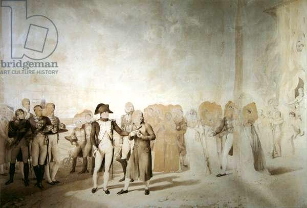 Napoleon visits the factory at Jouy-en-Josas, 20th June, 1806 (pen & sepia ink on paper)