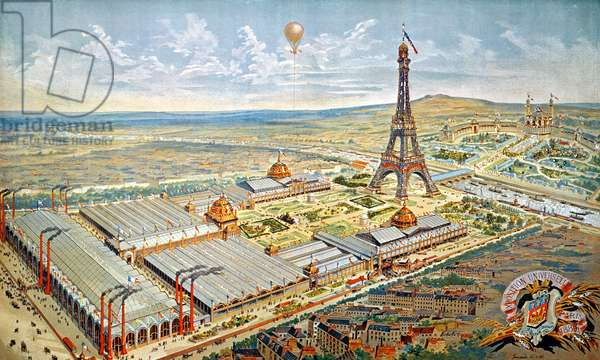 General View of the Universal Exhibition, Paris, 1889 (coloured engraving)