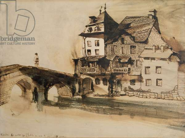 The House Where I Live by the Bridge in Vianden, 28th July 1871 (pen & ink and wash on paper)