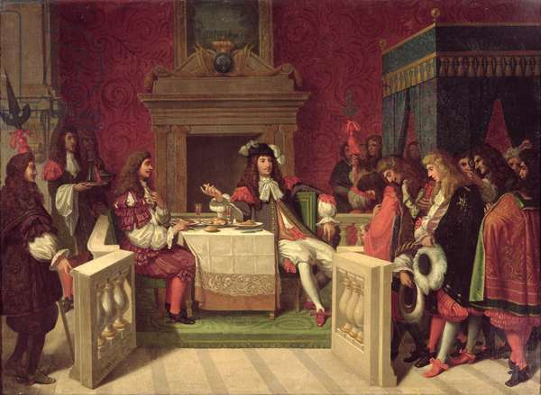 Moliere (1622-73) Dining with Louis XIV (1638-1715) 1857 (oil on canvas)