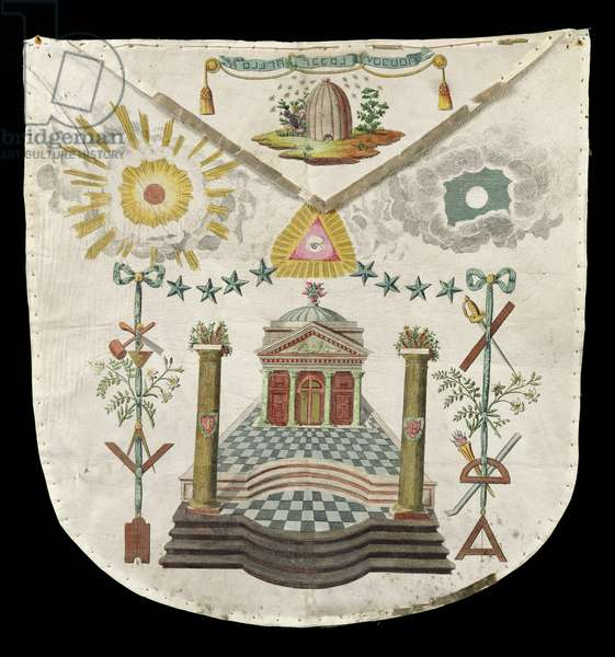 Apron of a Master of the Saint-Julien Lodge in Brioude (painted leather)