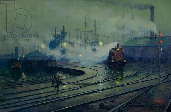 Cardiff Docks, 1896 (oil on canvas)