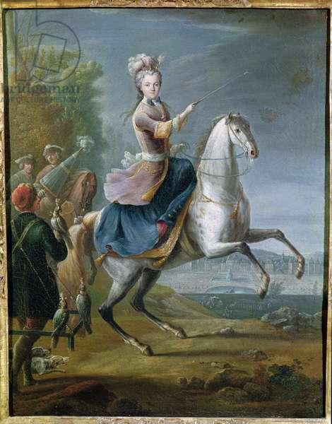 Equestrian Portrait of Maria Leszczynska (1703-68) (oil on canvas)
