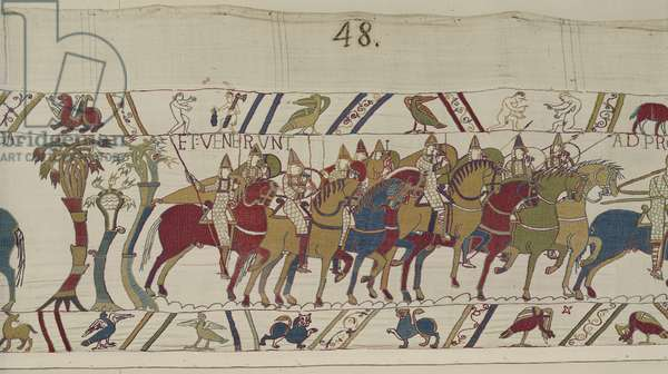 Norman soldiers leaving Hastings to do battle with Harold, Bayeux Tapestry (wool embroidery on linen)