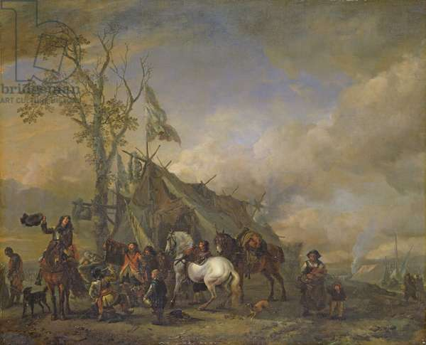 Departure of the Cavalrymen (oil on canvas)