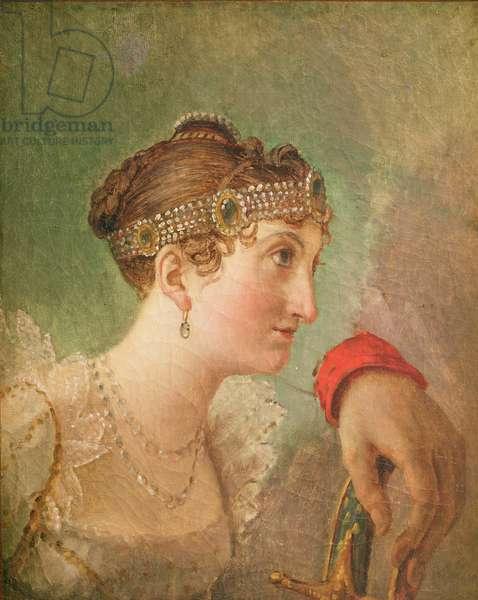 The Duchess of Rochefoucauld and the hand of Eugène de Beauharnais (oil on canvas)