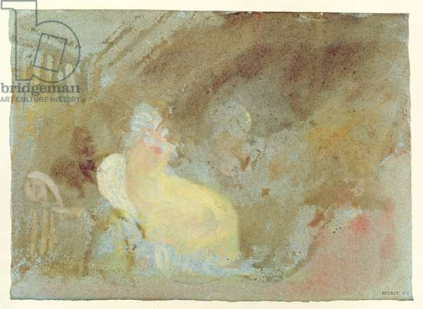 Interior at Petworth with seated figure, 1830 (gouache)