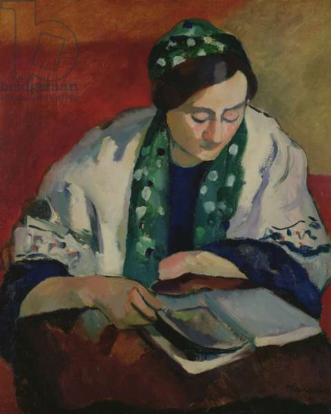 The Reader in the Green Bonnet, 1909 (oil on canvas)