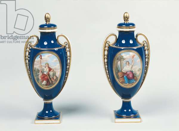 Pair of Sevres vases decorated with allegorical figures of Justice and the Republic (porcelain)