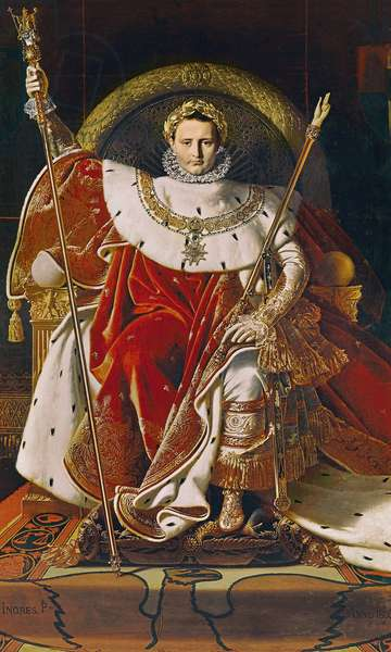 Napoleon I (1769-1821) on the Imperial Throne, 1806 (oil on canvas)