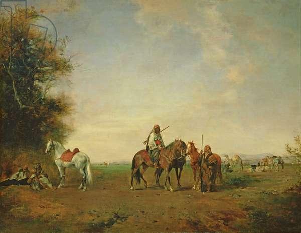 Resting place of the Arab horsemen on the plain, 1870