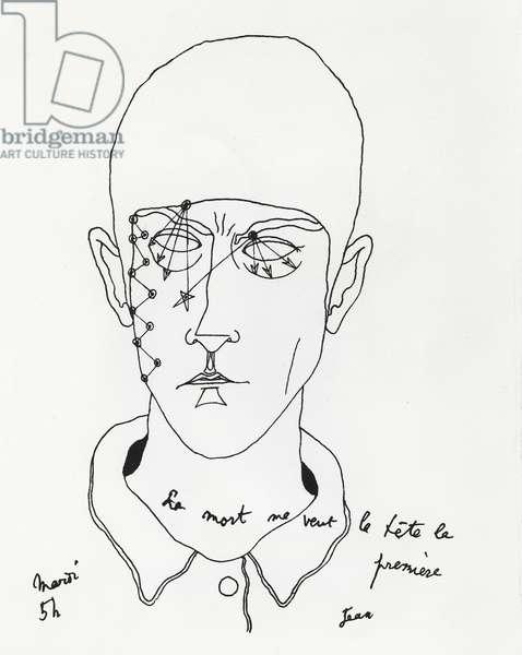 Self portrait, illustration from 'Maison de Santé', 1926 (litho)