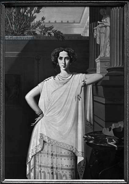 Tragedy or, Portrait of Rachel, c.1854 (oil on canvas) (b/w photo)