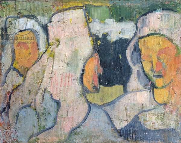 Three Breton Women in Widow's Bonnets (oil on canvas)