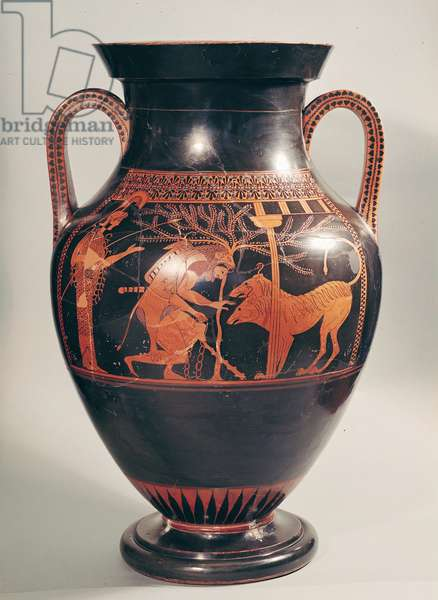 Attic red-figure belly amphora depicting Herakles capturing Kerberus, Greek, from Athens, 6th century BC (pottery)