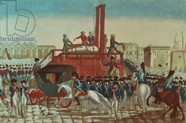 Execution of Louis XVI (1754-93) 21st January 1793 (coloured engraving) (see also 154902)