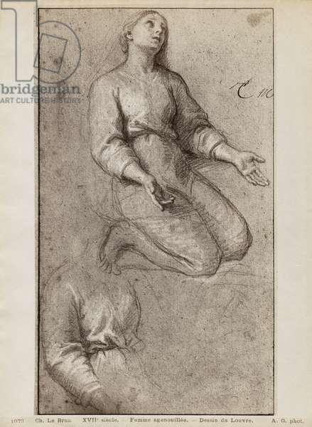 Kneeling woman, c.1685 (pierre noire & white chalk highlights on beige paper)