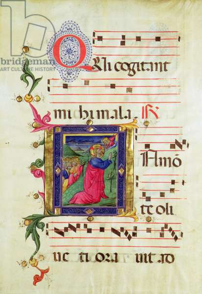 Historiated initial 'Q' depicting the Agony in the Garden (vellum)