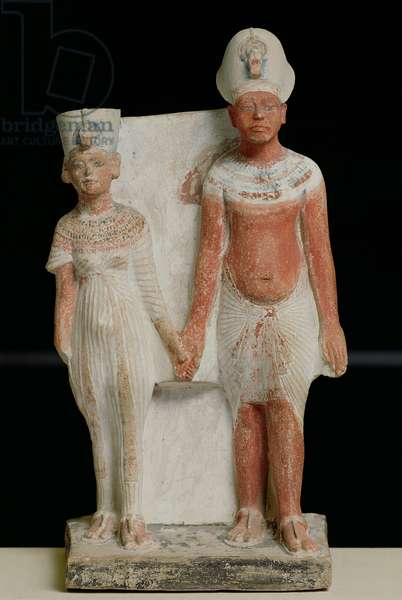 Statuette of Amenophis IV (Akhenaten) and Nefertiti, from Tell el-Amarna, Amarna Period, New Kingdom, 1353-1337 BC (painted limestone) (see also 219625)