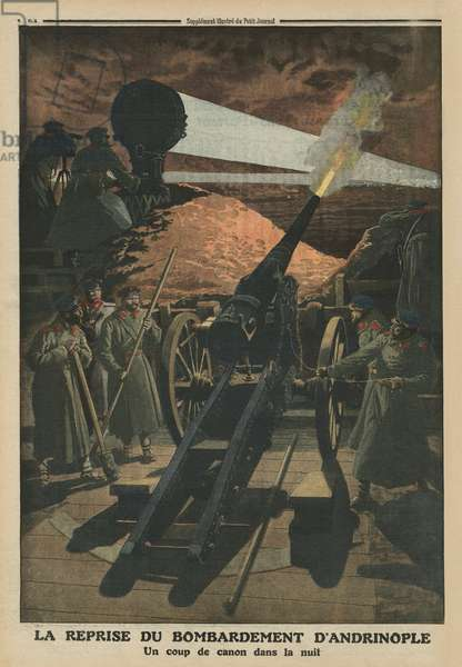 Bombing Andrinople again, back cover illustration from 'Le Petit Journal', supplement illustre, 23rd February 1913 (colour litho)