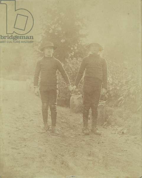 Portrait of Michel Monet and Jean-Pierre Hoschede (b/w photo)