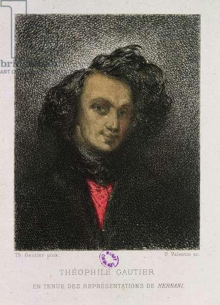 Self portrait, dressed for 'Hernani', engraved by H. Valentin (engraving)