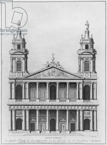 Church of Saint-Sulpice, elevation of the facade, Paris, engraved by Loignel or Laignel (engraving) (b/w photo)