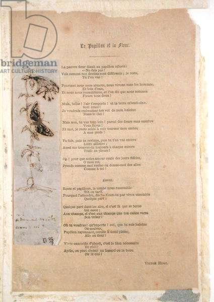 'Le Papillon et la Fleur', poem with an illustration of butterlies from 'Les Chants du Crepuscule' (pen & ink on paper)