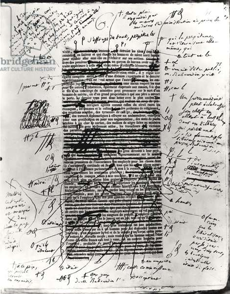 Page from one of Balzac's works with handwritten corrections (pen & ink on paper) (b/w photo)