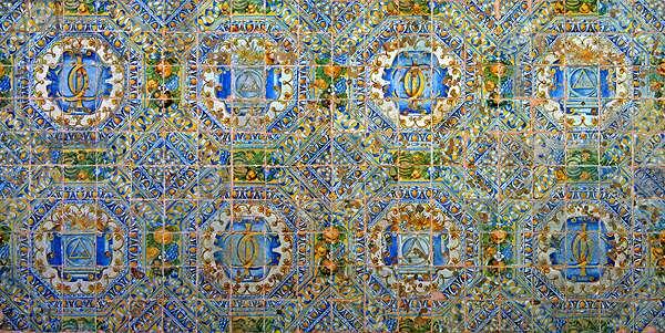 Panel of symbols of Claude d'Urfe and Jeanne de Balsac (ceramic)