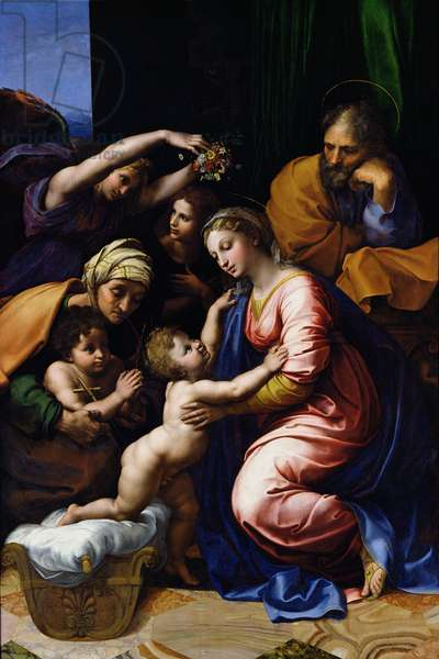 Holy Family (known as the Grande Famille of Francois I), 1518 (oil on canvas)