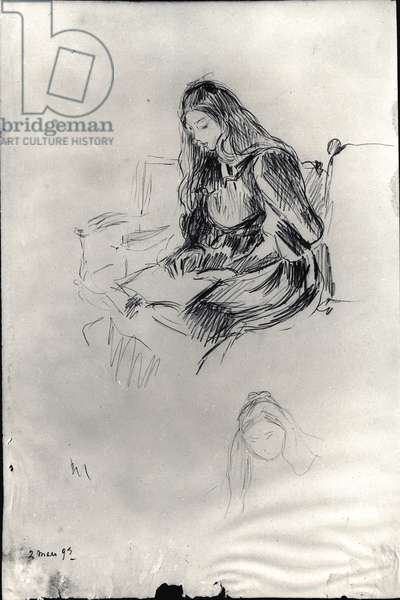 Julie Manet (1878-1966) reading, 2nd March 1893 (black lead on paper)