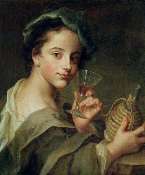 Woman with a Glass of Wine (oil on canvas)