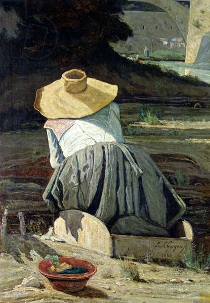 Washerwoman by the River, 1860 (oil on canvas)