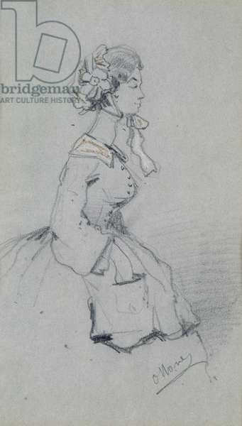 Young woman with a ribbon, 1857 (charcoal & pastel on paper)