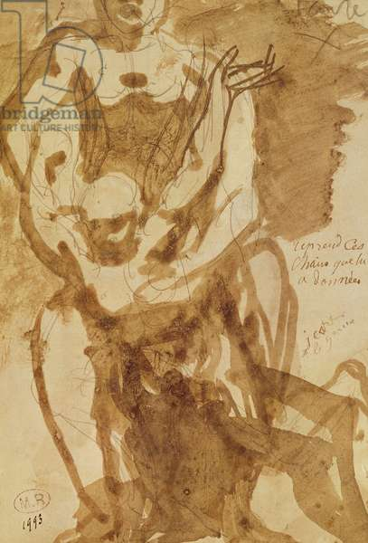 Two Figures (preparatory study for 'The Gates of Hell') (lead-pencil and ink wash on paper)