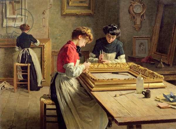 Interior of a Frame Gilding Workshop (oil on canvas)