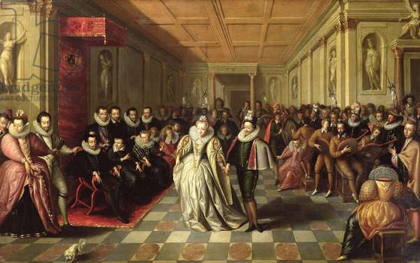 Ball at the Court of Henri III on the Occasion of the Marriage of Anne, Duke of Joyeuse, to Marguerite de Vaudemont, 24th September 1581, c.1581 (oil on panel)