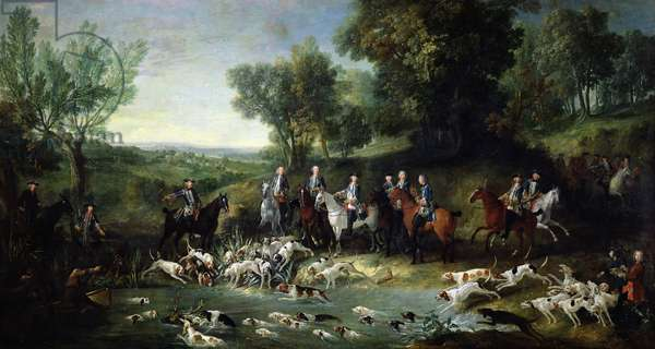Louis XV (1710-1774) Stag Hunting in the Forest at Saint-Germain, 1730 (oil on canvas)