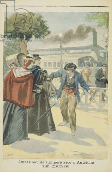 'The Crime', the Assassination of Elizabeth (1837-98) Empress of Austria, illustration of 'Le Petit Journal', 25th September 1898 (colour engraving)