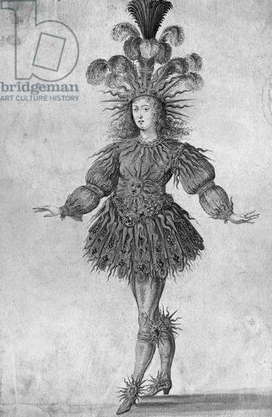 King Louis XIV of France in the costume of the Sun King in the ballet 'La Nuit', 1653 (b/w photo)