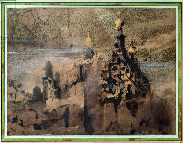 Memory of Spain, 1850 (ink wash and gouache on paper)