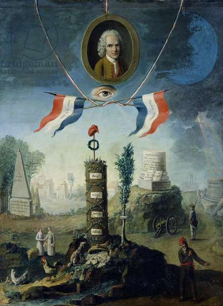 An Allegory of the Revolution with a portrait medallion of Jean-Jacques Rousseau (1712-78) 1794 (oil on canvas)