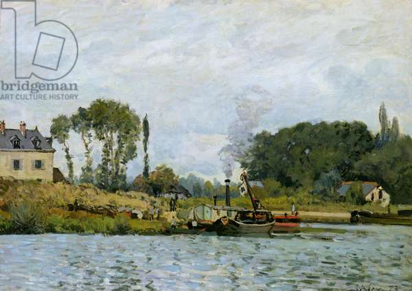 Boats at the lock at Bougival, 1873 (oil on canvas)