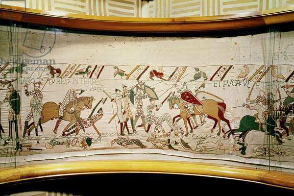 King Harold is killed and the English turn in flight, Bayeux Tapestry (wool embroidery on linen)