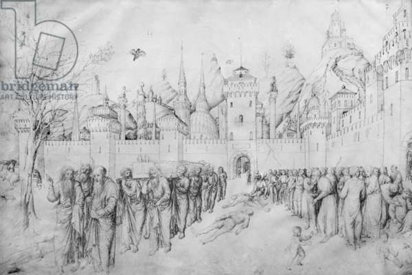 Funeral of the Virgin, from the Jacopo Bellini's Album of drawings (pen & ink on vellum) (b/w photo)