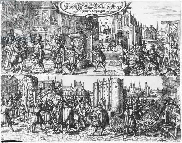 Arrest, trial and torture of Concino Concini, Marquis and Marshal of Ancre the 24th April 1617 (engraving) (b/w photo)