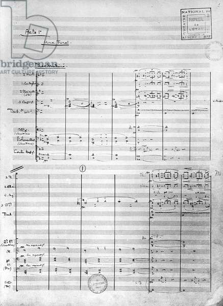 Score sheet of Act 1 of 'Pelleas and Melisande', 1902 (pen & ink on paper)