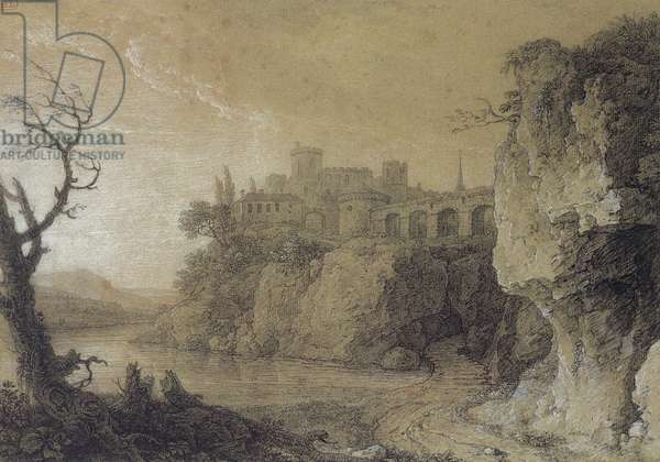 Landscape with a River and Fortified Village (charcoal & white chalk on paper)