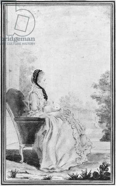Portrait of Madame du Deffand, 1760 (pencil & w/c on paper) (b/w photo)